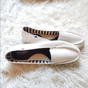 Sperry White Boat shoes Flats with Blue Trim